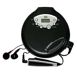 WINTECH ポータブルCDプレーヤー PCD-56K  ブラック リモコン、イヤホン付属 音飛び防止機能 乾電池対応