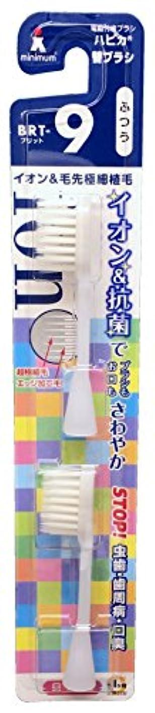 サイズゾーンブラストミニマム 電動付歯ブラシ ハピカ 専用替ブラシ マイナスイオン+超極細毛 毛の硬さ:ふつう BRT-9 2個入