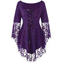 KENNACY Womens Victorian Gothic Plus Size Tops Lace Bell Long Sleeve Blouse T-Shirt