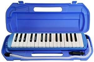 サカイトレーディング 32鍵 鍵盤ハーモニカ (卓奏用パイプ・立奏用唄口付き) ブルー