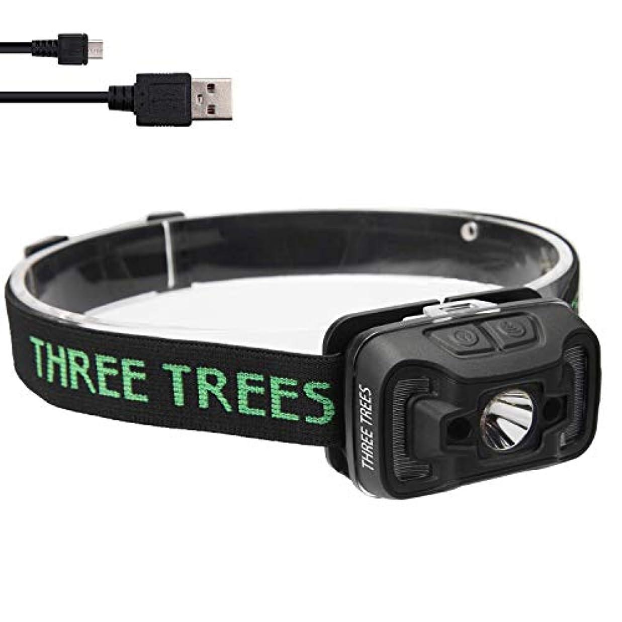 蒸留集まるレガシーThree trees LED 新ヘッドライト センサー機能付き [500ルーメン/IP47防水?防塵] usb充電式 自転車 登山 夜釣り キャンプ停電時用[独占]