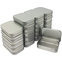 24 Pack Metal Rectangular Empty Hinged Tins Box Containers Mini Portable Box Small Storage Kit Home Organizer 3.75 by 2.45 by 0.8 Inch Silver