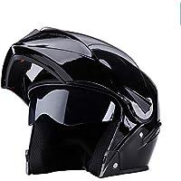オートバイのヘルメット - サングラスとオートバイのヘルメットメンズと女性のフルフェイスヘルメット、ダブルミラー/ブラック(MD-099) /& (色 : Bright black)