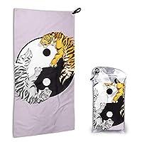 Yin & Yang Tigers フェイスタオル ホテルタオル ふわふわスポーツタオル 瞬間吸水 速乾 抜群な通気性 柔らかい肌触り 明るい色彩 収納袋付き 贈答品 約80x40CM
