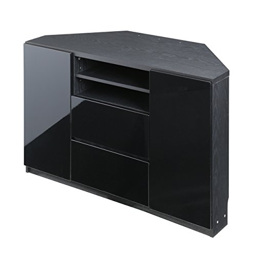 キャスター付きコーナーTVボード ロビン ハイタイプ ブラック(前板鏡面タイプ)