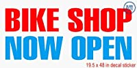 Bike shop now openレッドブルービニールデカールラベルステッカーRetail Store Sign–Sticks to Any Cleanサーフェス19.5X 48で