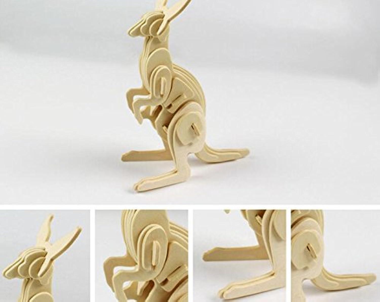 HuaQingPiJu-JP クリエイティブ木製3Dパズルアーリーラーニング動物玩具子供のための素晴らしいギフト(カンガルー)