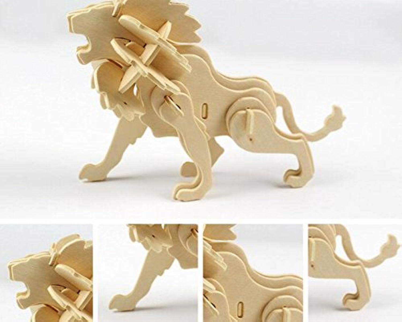 HuaQingPiJu-JP クリエイティブ木製3Dパズルアーリーラーニング動物玩具ファンタスティックギフト(ライオン)