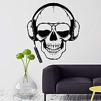 Ansyny ゲーマー壁飾りスカルヘッドフォンゲーマー壁ステッカー取り外し可能なサングラスプレーヤーウォールボーイズルームゲーム装飾42 * 49センチ