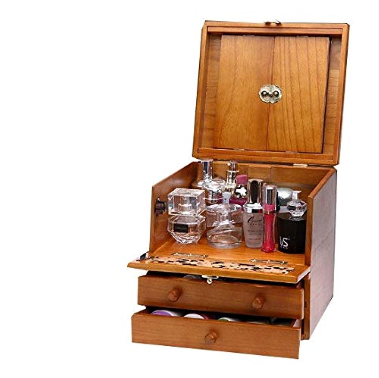 風メタルライン物理学者化粧箱、3層レトロ木製彫刻化粧ケース付きミラー、ハイエンドのウェディングギフト、新築祝いのギフト、美容ネイルジュエリー収納ボックス