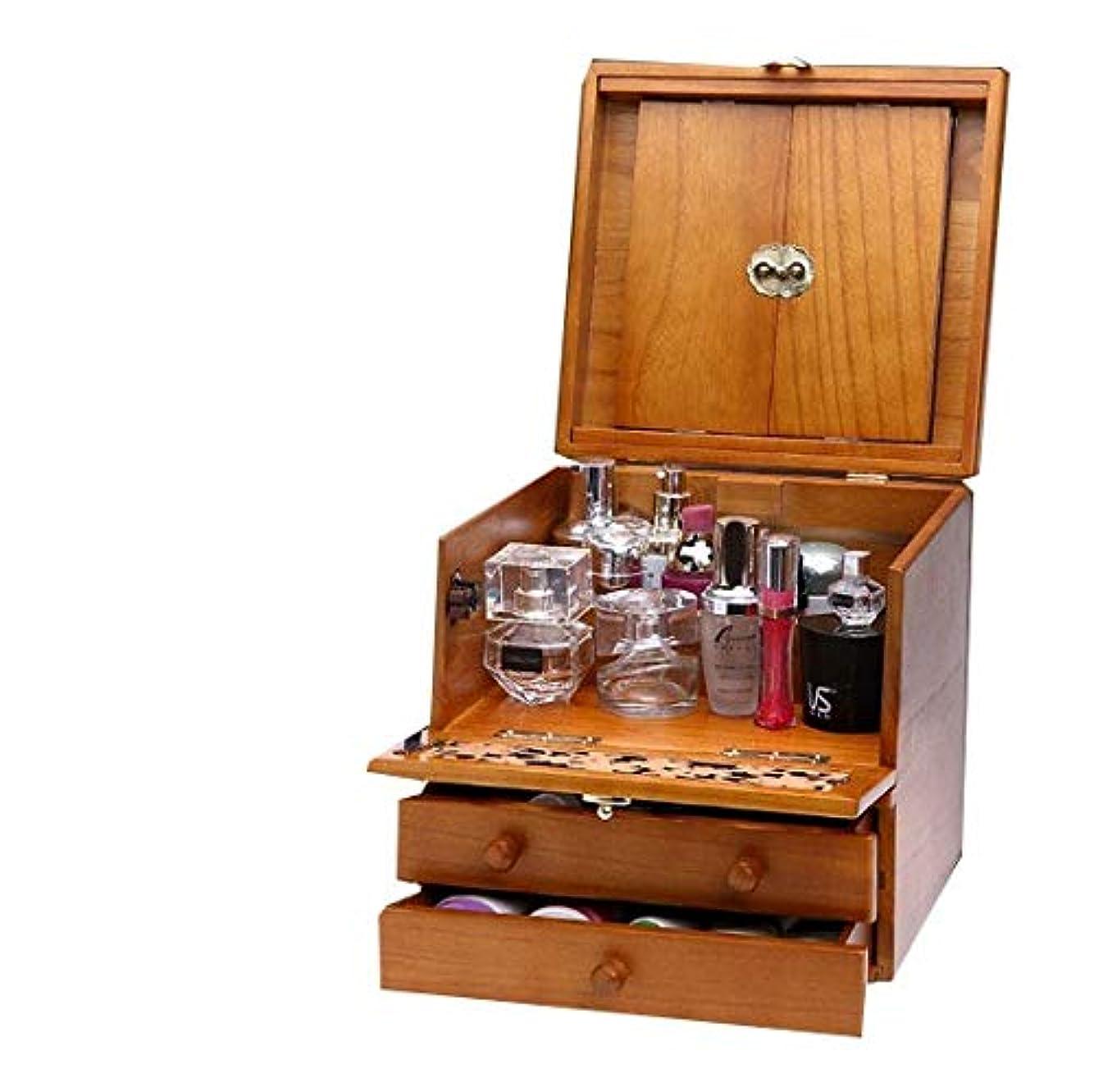 ダイエット情熱的賃金化粧箱、3層レトロ木製彫刻化粧ケース付きミラー、ハイエンドのウェディングギフト、新築祝いのギフト、美容ネイルジュエリー収納ボックス