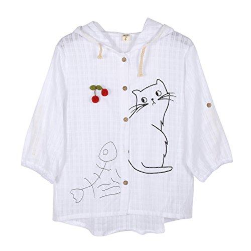 (ライチ) Lychee レディース 可愛い 薄手コート フード付き 七分袖 上着 猫と魚プリント入り シャツ ブラウス さくらんぼモチーフ ブローチ付き 大きいサイズ ゆったり 森ガール