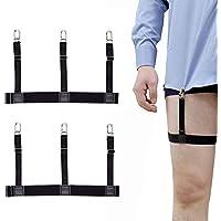 Men's Shirt Tail Elastic Straps Belt Holder with No-slip Closure Locking Clamps