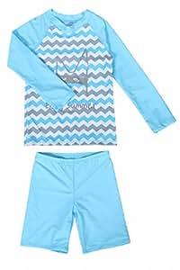 next.design UPF50+ 子供用 ラッシュガード 水着 スイムウェア 上下セット (XL(6-7才), ブルー)