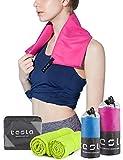 (テスラ)TESLA 速乾タオル スポーツタオル [超吸水 · 防臭] マイクロファイバー スイムタオル· 旅行 · お風呂 · ピクニックなど多目的 4サイズ 7色 MZW01