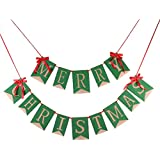 (Green) - GOER Merry Christmas Burlap Banners Garlands with Ribbon Bows for Xmas Party Decoration Photo Prop (Green)