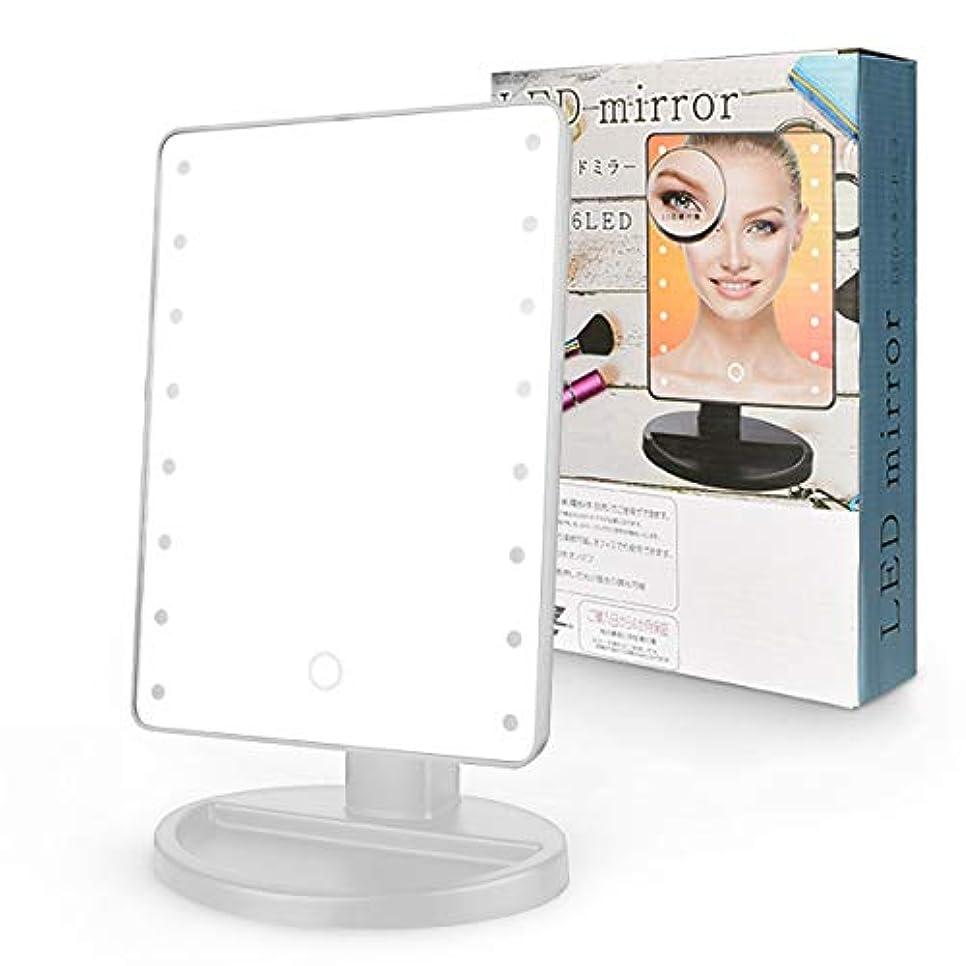 講義コントロールアイロニーZAZ LEDミラー 16LED 女優ミラー 10倍鏡 USBケーブル付属 角度調整可能 カラー:シルバー