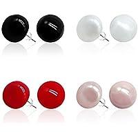 4Pcs Pearl Earrings 14mm Silver Plated Studs Earring Set Women Girl