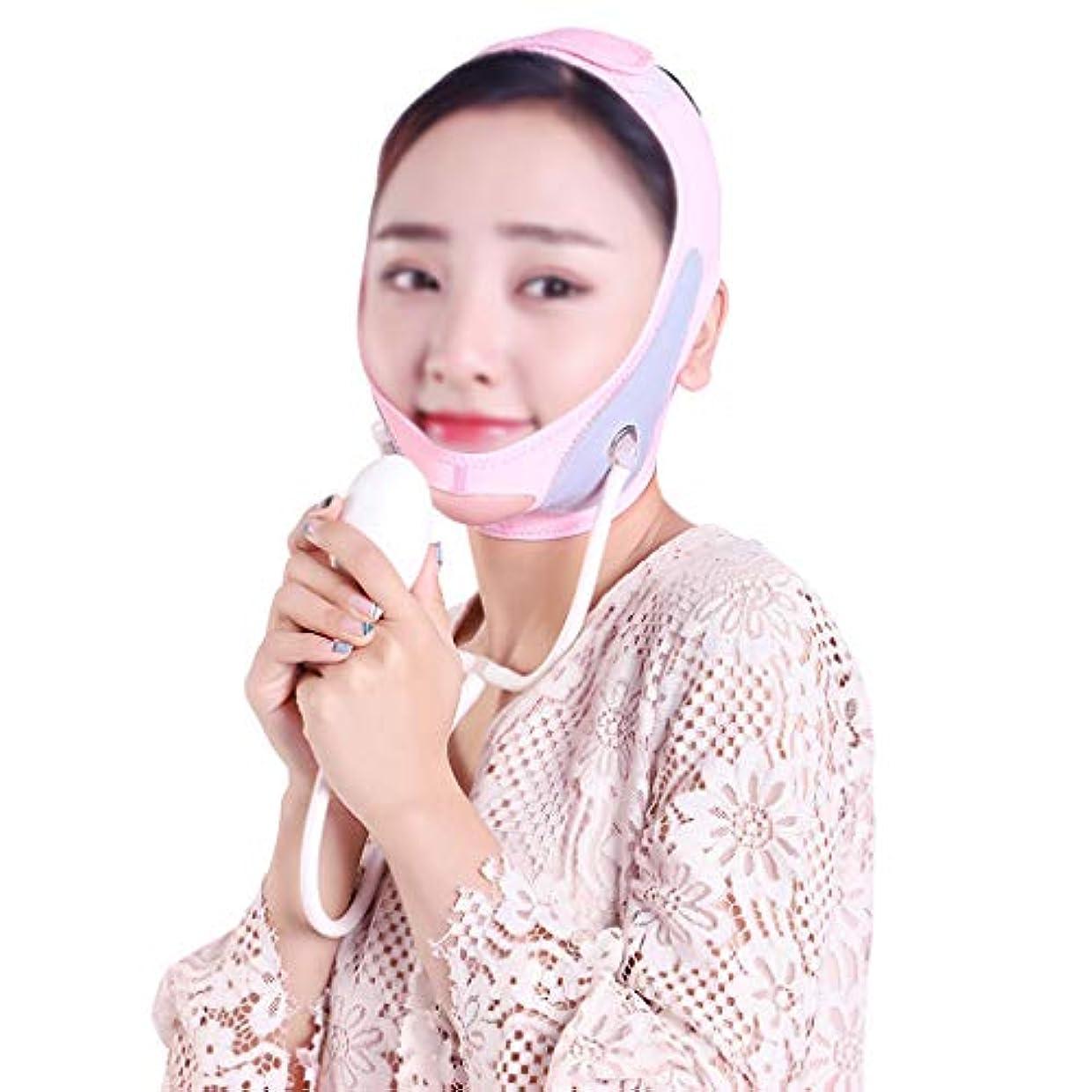 風変わりな資格帽子GLJJQMY 膨脹可能なマスクは小さいVの表面を作成するために皮の形づけおよび引き締めパターン/二重あごの包帯の人工物を高めます 顔用整形マスク