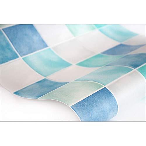 壁紙シール タイル模様 ブルー 幅50センチ×長さ1m単位