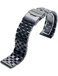 22mm ステンレス鋼時計バンド黒ソリッドリンクメンズブレスレット折りたたみクラスプを交換します