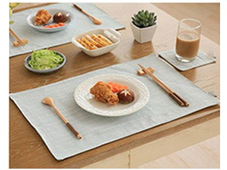 SHACOS ランチョンマット プレースマット 綿麻 厚手 食卓飾り 汚れ防止 水洗いOK 北欧 家庭用 4枚セット 30×45cm (縞柄*緑)