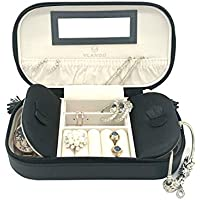 Vlando Small Travel Jewelry Box Organizer - Woman Girls Take-Out Handbags - Faux Leather Tassel Design (Black)