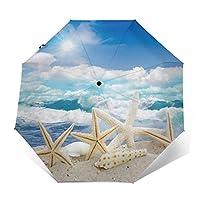 ビーチヒトデ 折りたたみ傘 日傘 ワンタッチ自動開閉 折り畳み 丈夫な8本骨 3段式 撥水 耐風 晴雨兼用 梅雨対策 UVカット 遮光遮熱 傘袋/収納ポーチ付き