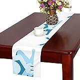 GGSXD テーブルランナー 小柄 ブルーうさぎ クロス 食卓カバー 麻綿製 欧米 おしゃれ 16 Inch X 72 Inch (40cm X 182cm) キッチン ダイニング ホーム デコレーション モダン リビング 洗える