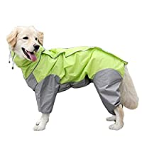 取り外し可能なパーカーと犬のレインコート、屋外調整可能な巾着、フードの襟の穴付きマジックテープ防水レインジャケット YANW (Color : Green, Size : 20)