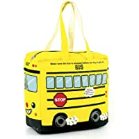 Canvas Yellow Bus Tote Bag - Yellow