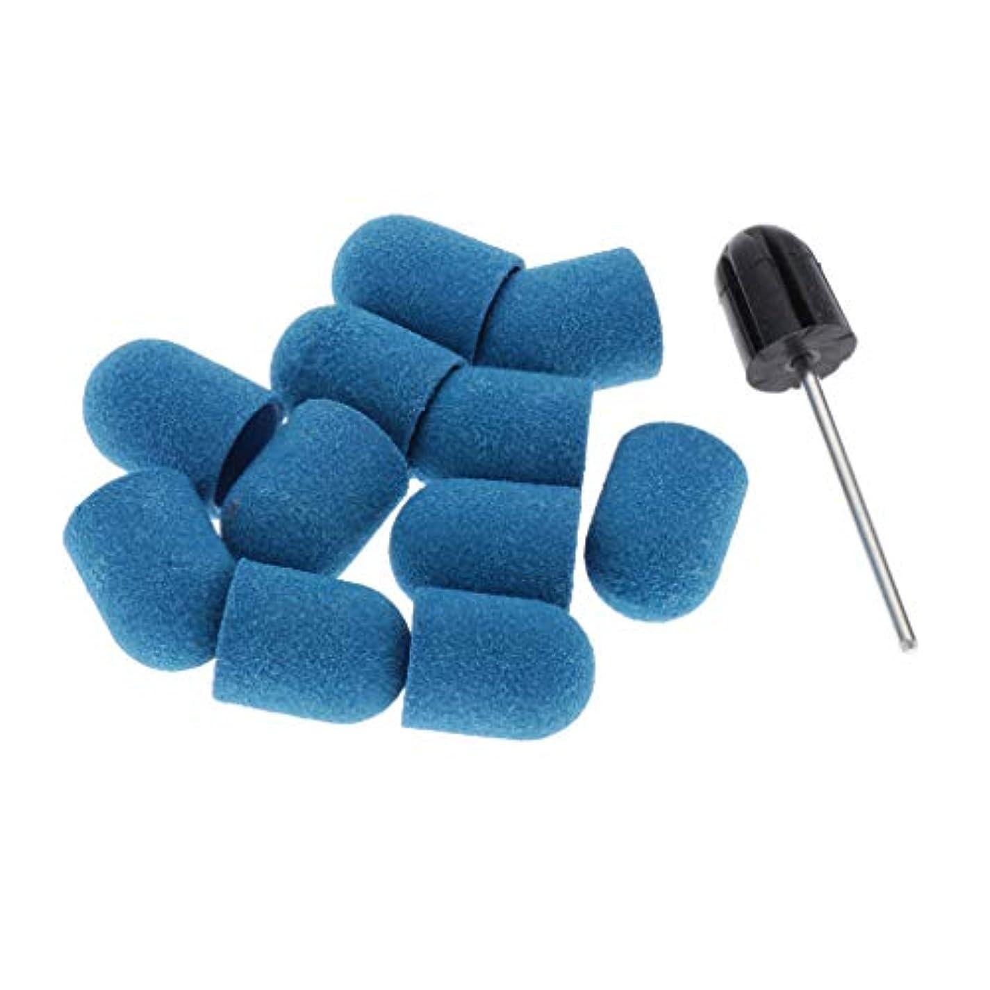 頂点独立して甲虫Toygogo ネイルアート マニキュア ネイルファイル サンディングキャップ ネイルヘッド 10本セット 全5カラー - 青