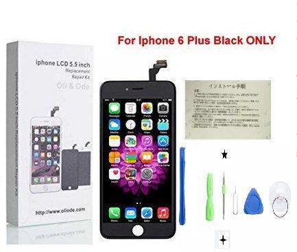 CW iPhone 6 Plus 5.5インチ交換修理用フロントパネル(フロントガラスデジタイザ)タッチパネル 液晶パネルセット 修理工具付属 (ブラック)