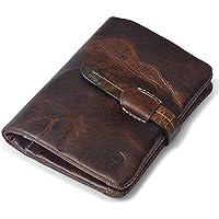 Vintage Leather Wallet Key Holder Card Case Long Clutch Bag for Men and Women (Light Coffee)