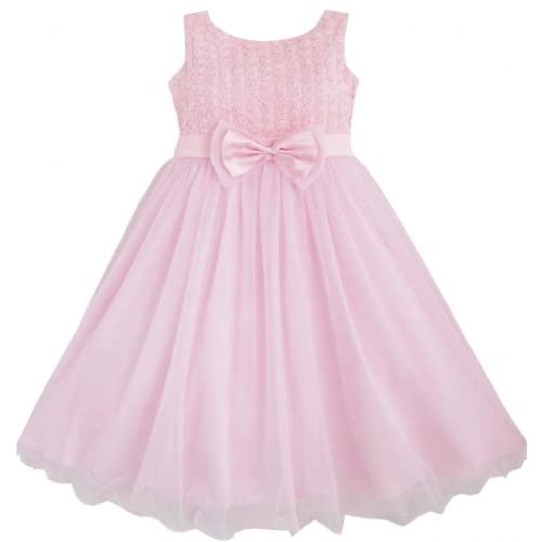 DF16 こどもドレス 子どもドレス フラワードレス 結婚式 発表会 ローズ ピンク 花嫁介添人 150cm