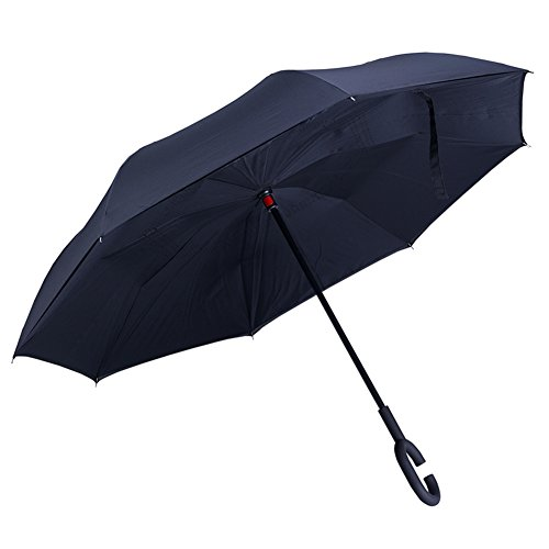 Evfun 傘 逆さ傘 逆折り式傘 自立式 UVカット/晴雨兼用/耐風(黒)