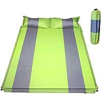 Hewflit ダブル キャンピングマット インフレータブル エアマット 2人用 枕付き 2.5cm 車中泊 キャンプ レジャー アウトドア 防災 連結可能 自動膨張式 収納袋付き