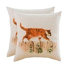 クッションカバー 45x45cm 2枚組 綿麻生地 動物プリント こそこそ猫