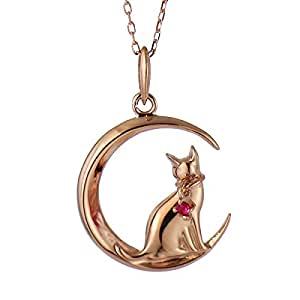 SUEHIRO ネコ ダイヤモンド ピンクゴールド ペンダント ネックレス 猫 7月 誕生石 ルビー アクセサリー