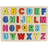 Flameer Wooden Alphabet Block Board - A B C Uppercase Letter Learning Puzzle Montessori Educational Toys