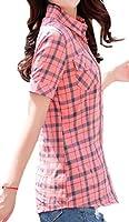 Macondoo 女性ポケット夏半袖チェックシャツボタンダウンシャツ 3 M