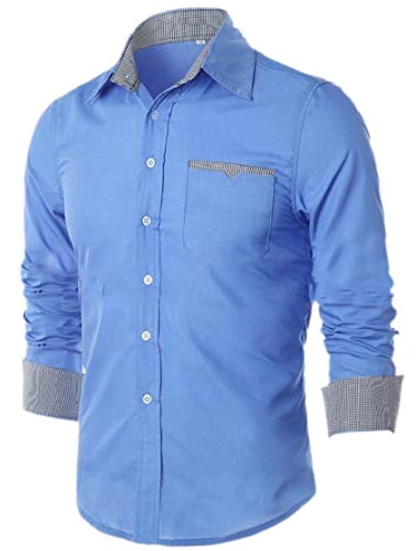 chenshiba-JP メンズボタンダウンシャツクラシックスリムコントラストカラーロングスリーブインナードレスシャツ