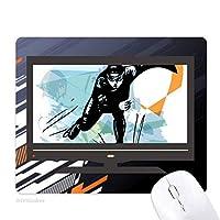 ウィンタースポーツスピードスケートの男子スポーツ選手 ノンスリップラバーマウスパッドはコンピュータゲームのオフィス