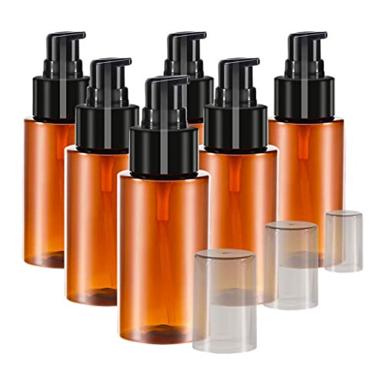 パークスパーク唇6個 60ml エッセンシャルオイル 化粧品ボトル スプレーボトル 詰め替え 保存容器 全2色 - 褐色
