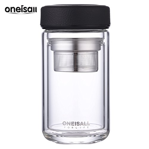 oneisall GYBL046 320ML 携帯用マグ 透明耐熱ホウケイ酸ガラス製水筒 お茶のボトル ダブルウォール2重構造ステンレス茶こし付きカバー付き 会社や運動各場所用 (black)