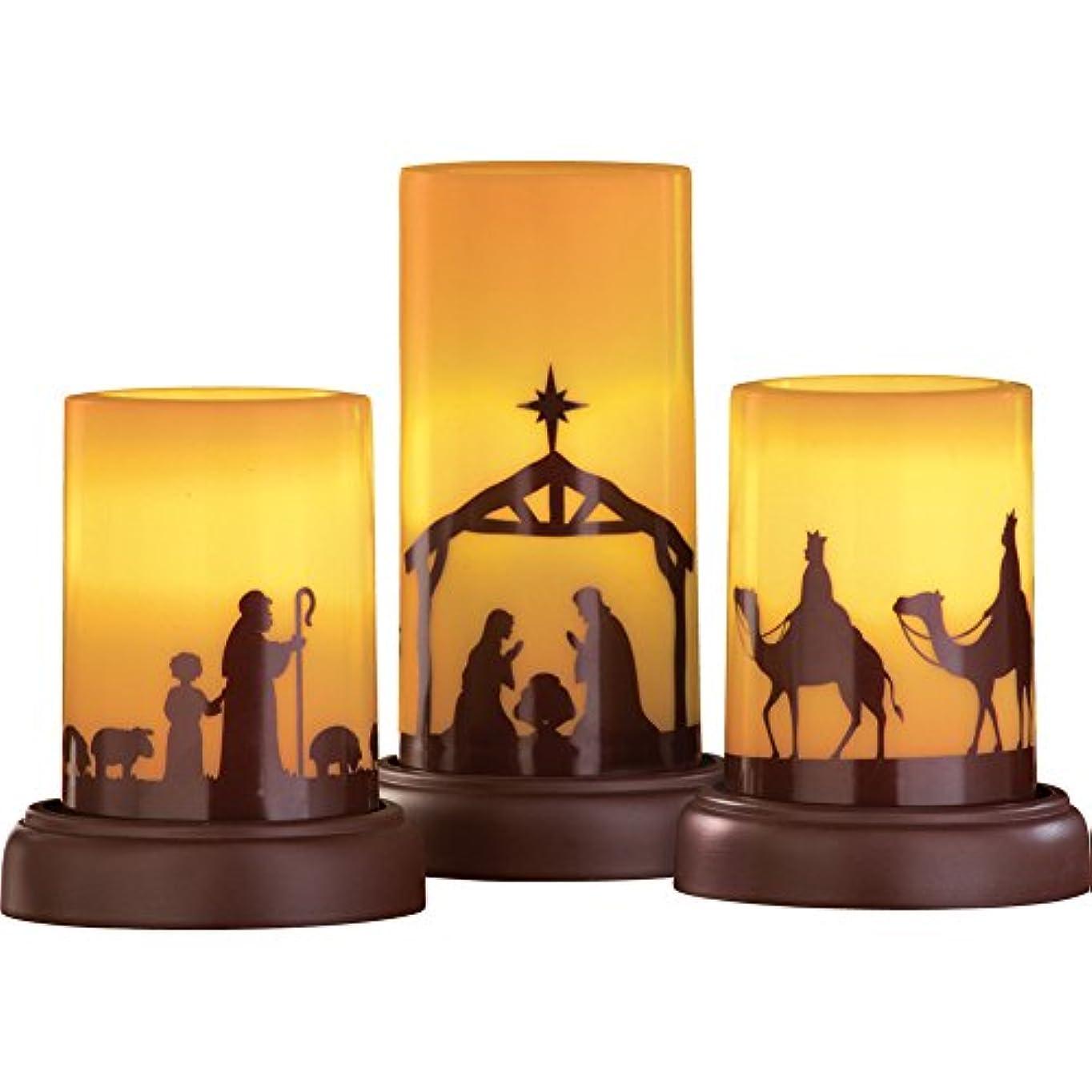 免疫エンジニアプログレッシブLED Flameless Nativity Candles - Set of 3 by Collections Etc