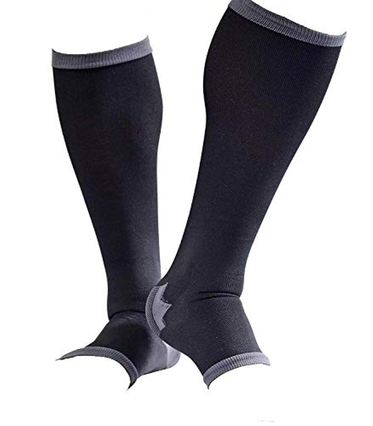 トロピカルバクテリア協同男性専用脚すっきり対策オープントゥ着圧ソックス 膝下 L-LL 順天堂大学客員教授推奨