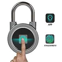 ポータブルbluetoothフィンガープリント、生体認証スマートフォン、USB充電アプリは、家庭のドア、スーツケース、バックパック、ジム、自転車、オフィスのAndroid/IOsに適しています,Gray