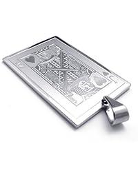 [テメゴ ジュエリー]TEMEGO Jewelry メンズステンレススチールペンダントジャックハーツのカードポーカーネックレス、シルバー[インポート]