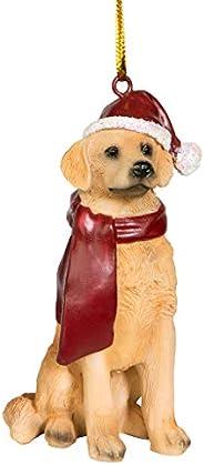 Design Toscano Golden Retriever Holiday Dog Ornament Sculpture, Full Color